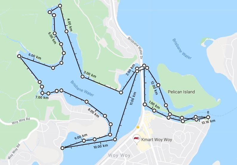 Map of Woy Woy Bays showing route taking by the paddling group with distances