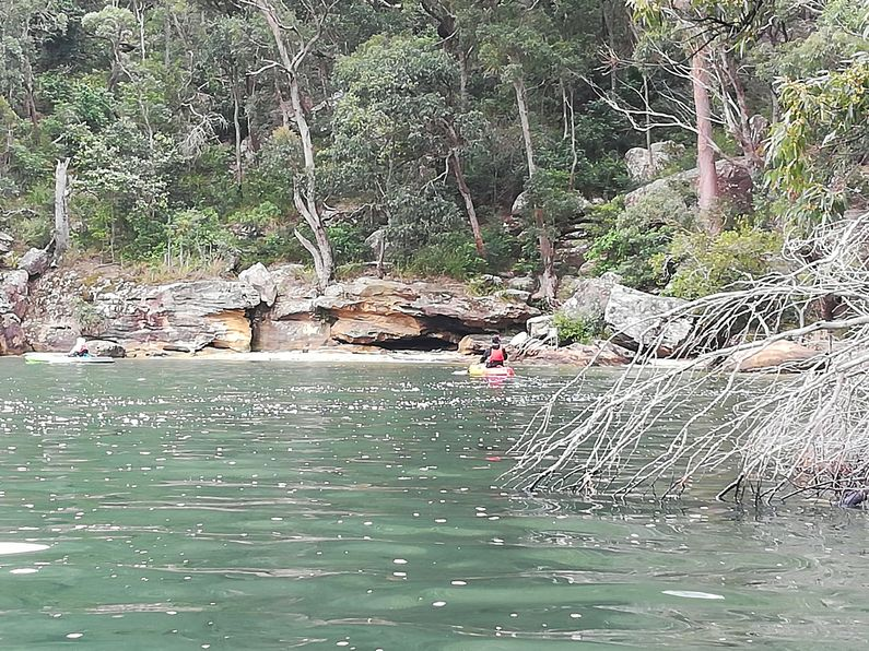 Kayakers paddling down Waterfall Bay