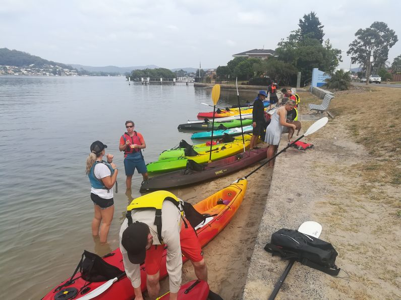 Paddlers having rest stop at St Huberts Island