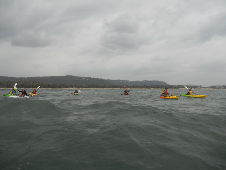 Group paddling out to Lion Island