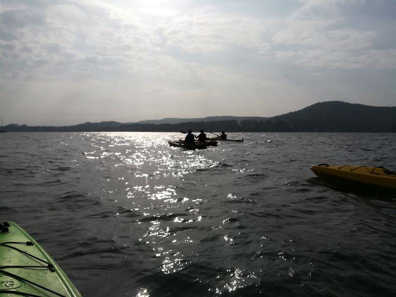Paddling back across Caroline Bay