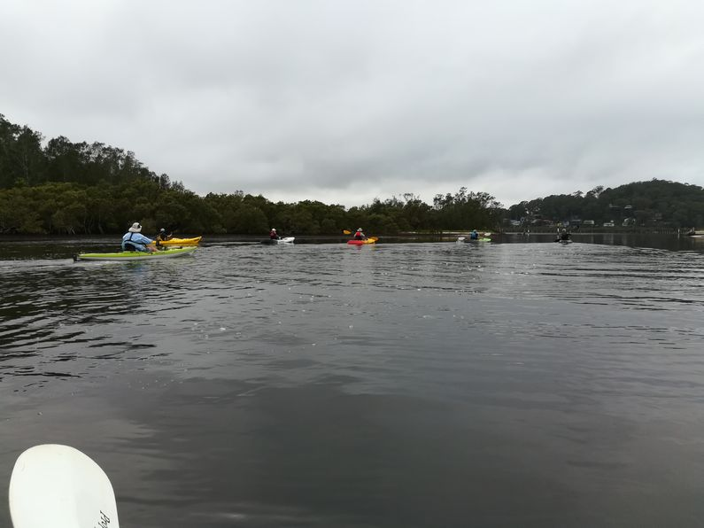 Kayakers paddling along the channel between Rileys and St Huberts Island