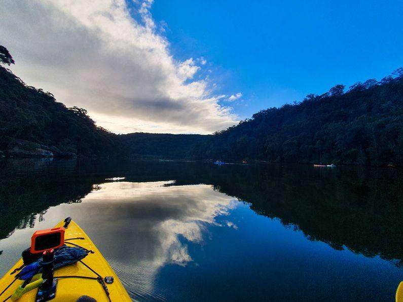 Prow of kayak heading up Patonga Creek