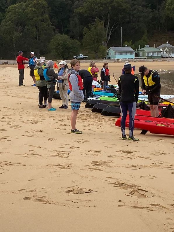 Group of kayakers about to set out from Patonga onto the Hawkesbury