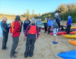 Paddlers gathering at Ettalong Beach