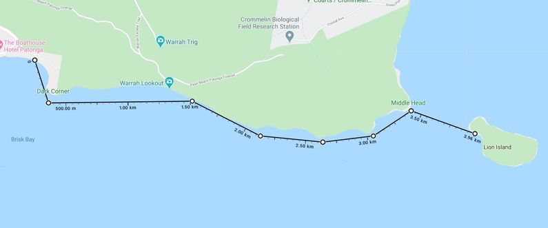 Map of trip from Patonga to Lion Island